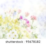 Colorful Abstract Spring Flowers Background - stock photo