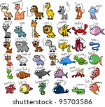 big set of cartoon animals ... | Shutterstock .eps vector #95703586