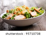caesar salad with chicken and... | Shutterstock . vector #95710738