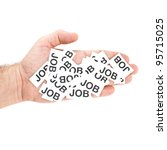Job offer. Male hand holding paper notes notes with printed word Job. - stock photo