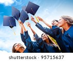 students throwing graduation... | Shutterstock . vector #95715637