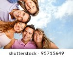 group of close friends smiling...   Shutterstock . vector #95715649