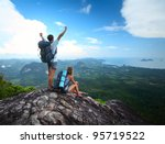 young happy backpackers on top... | Shutterstock . vector #95719522