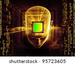 Collage of human head, computer chip, digits and various abstract elements on the subject of intelligence, science, technology, human and artificial mind - stock photo