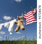 baby clothing and a teddybear... | Shutterstock . vector #95728678