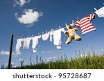 baby clothing and a teddybear... | Shutterstock . vector #95728687