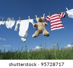 baby clothing and a teddybear... | Shutterstock . vector #95728717