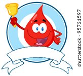 happy red blood drop waving a... | Shutterstock .eps vector #95731597