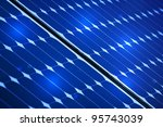 Blue Photovoltaic solar panel With Lights On It - stock photo
