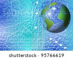 transparent globe with charts and graphs on a blue background / business outlook - stock photo