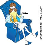 side view of woman sitting on... | Shutterstock .eps vector #95766694