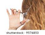 woman cutting her hair  beauty... | Shutterstock . vector #9576853