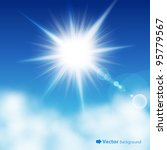 the sun in the blue sky. vector ... | Shutterstock .eps vector #95779567