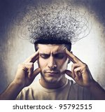 young man with pensive... | Shutterstock . vector #95792515