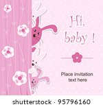 Stock vector baby shower girl 95796160