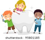 illustration of kids brushing a ... | Shutterstock .eps vector #95801185