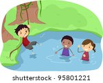 illustration of campers playing ... | Shutterstock .eps vector #95801221