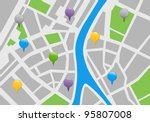 city map with labels. vector... | Shutterstock .eps vector #95807008