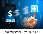 smart hand touch the first aid...   Shutterstock . vector #95807617