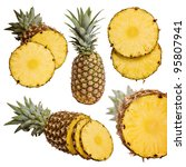 fresh pineapple fruits with cut ... | Shutterstock . vector #95807941
