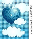 heart and clouds  blue... | Shutterstock .eps vector #95809150