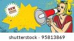 retro woman with megaphone... | Shutterstock .eps vector #95813869