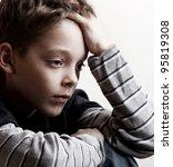 Sad Boy. Depressed Teenager At...