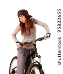 Portrait of young woman cyclist isolated on white, studio shot. - stock photo