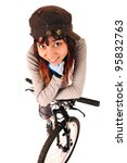 Funny portrait of young woman cyclist isolated on white, studio shot. - stock photo