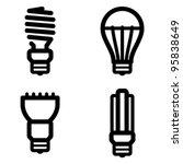 Vector icon set of energy saving and LED light bulbs - stock vector