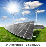 solar energy panels and wind... | Shutterstock . vector #95858209
