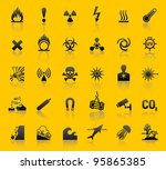 set hazard warning symbols | Shutterstock .eps vector #95865385