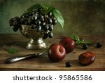 Still Life With Plums And Grapes