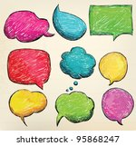 hand drawn  colorful speech... | Shutterstock .eps vector #95868247