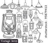vintage lamp set   Shutterstock .eps vector #95879413