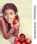 vintage girl with red apples | Shutterstock . vector #95905201