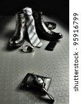 Black leather style - stock photo
