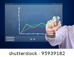 male hand drawing a chart on... | Shutterstock . vector #95939182