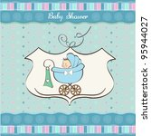 Baby Boy Announcement Card Wit...