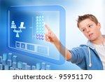 Young student touching virtual digital futuristic screen. - stock photo