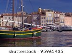 old sail boat in Saint Tropez, France - stock photo