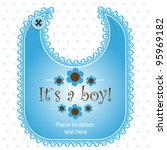 baby shower card with a bib for ... | Shutterstock .eps vector #95969182