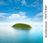 private jet plane is over a... | Shutterstock . vector #95971969