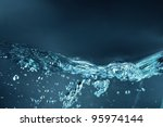 Blue water waves - stock photo