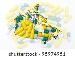Outline canada map with transparent background of capsules symbolizing pharmacy and medicine - stock photo
