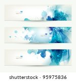 set of three banners, abstract  headers with blue blots | Shutterstock vector #95975836