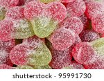 Sour Cherry Sweets - Close up of fizzy cherry flavoured gums. - stock photo