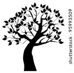 Vector Tree Silhouette With...