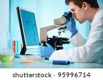 scientist looking into... | Shutterstock . vector #95996714