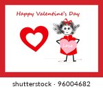 girl with bow   valentine's day | Shutterstock . vector #96004682